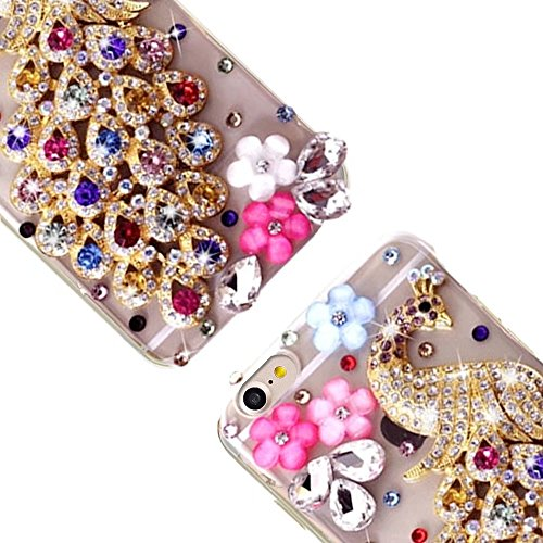 Bling Bling iPhone 7 Hülle, MOMDAD Diamant Glitzer Glänzend Handmade Schutzhülle für iPhone 7 Handyhülle Transparent PC Hart [Spiegel Mirror Blume Pearl Perle] Case Cover Luxus Crystal Strass Shining  Bunt