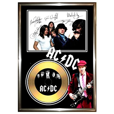AC DC - SIGNED FRAMED GOLD VINYL RECORD CD & PHOTO DISPLAY -ACDC AC/DC