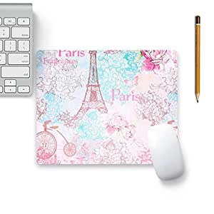 Colorpur Paris France Eiffel Tower In Pink With Rose Designer Mouse Pad Black Base - 8 in x 7 in | Artist: UtART