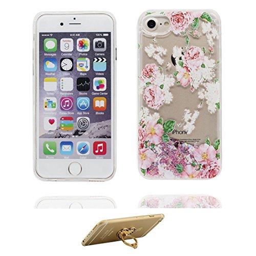 "iPhone 6 Coque, Flamant Bling Glitter Fluide Liquide Sparkles Sables iPhone 6s étui Cover (4.7 pouces), anti- chocs -(Multiflora Rose) iPhone 6 Case (4.7"") & ring Support # 4"