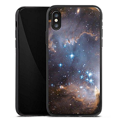 Apple iPhone X Silikon Hülle Case Schutzhülle Sterne Galaxie Universum Silikon Case schwarz