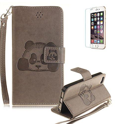 Für iPhone SE/Für iPhone 5/5S Gurt Strap Magnetverschluß Ledertasche Hülle,Für iPhone SE/Für iPhone 5/5S Premium Seil Leder Wallet Tasche Brieftasche Schutzhülle,Funyye Stilvoll Jahrgang [Niedlicher r Panda,Grau