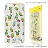 Funnytech Custodia in Silicone (TPU) per iPhone 5C [Design Esclusivo, Stampa ad Alta Definizione] Cover, Case [Cactus patrones Transparente]