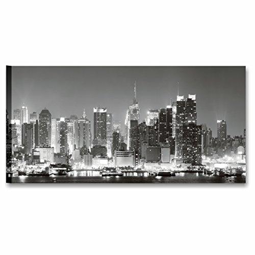 Karo L & C Italien New York Panorama 1-90x 45cm Rahmen modern artiginale auf Leinwand Made in Italy wandhängend Drucke Möbel Lichterkette weiß und schwarz -