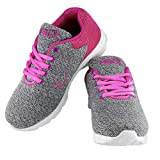 Briix Women Grey and Pink Mesh Sports Running Walking Training and Gym Shoes {Size : 41} [BR019]