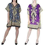 "GirlsNCurls Women Short Kaftan Caftan Polyester Combo Pack of 2 Beach Wrap Kaftan Robe Maxi Gown 36"" Inches"