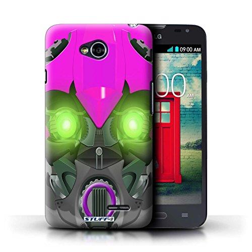 Kobalt® Imprimé Etui / Coque pour LG L70/D320 / Opta-Bot Jaune conception / Série Robots Bumble-Bot Violet