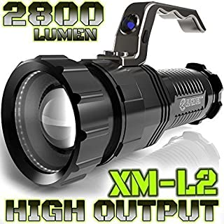 ALPHA TEK 2800 Lumen | HIGH Output | Rechargeable | ZOOMABLE Floodlight to Spotlight | X-Lamp XM-L2 CREE LED (20% Brighter Than T6 LED) Tactical Flashlight | (NO Battery Included)