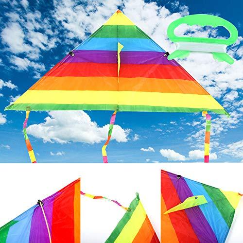 Secvbg aquilone colorato arcobaleno aquilone in poliestere a coda lunga giocattoli volanti per bambini bambini aquilone da surf acrobatico con barra di controllo e linea