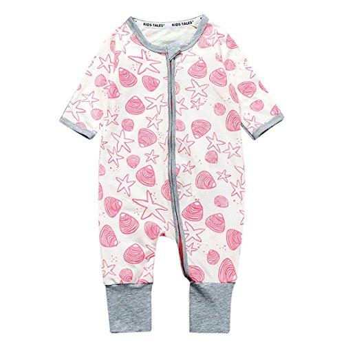 H-fragrance Baby Mädchen Jungen Lange Hülse Baumwollmischung Reißverschluss Overall Rosa (6 Monate) (Anzug Gefütterter Leicht)