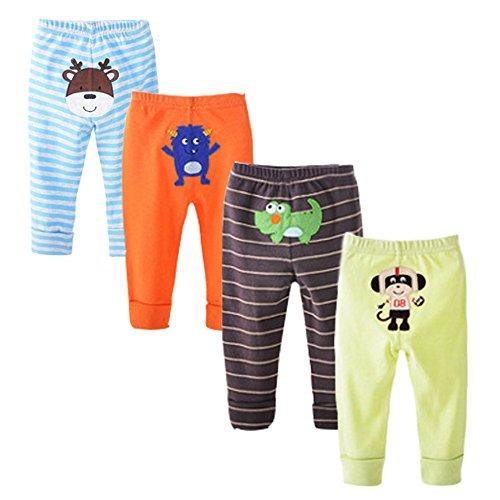 danrol Baby Jungen 4er Pack Cartoon Pants Set 100% Baumwolle Gr. 36 Monate, mehrfarbig