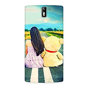 Enticing Teddy Girl Cute Multicolor Back Case Cover for One Plus One
