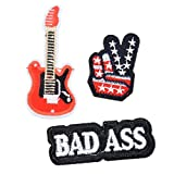 #1: Hexawata Mixed Embroidered Cartoon Geature Guitar Letter BAD ASS Appliques Sew Iron On Patches 3Pcs