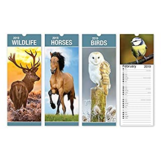 ALANNAHS ACCESSORIES Slimline 2019 Hanging calendar Daily Planner Dates Monthly Pets Nature Cars - -Wild Life