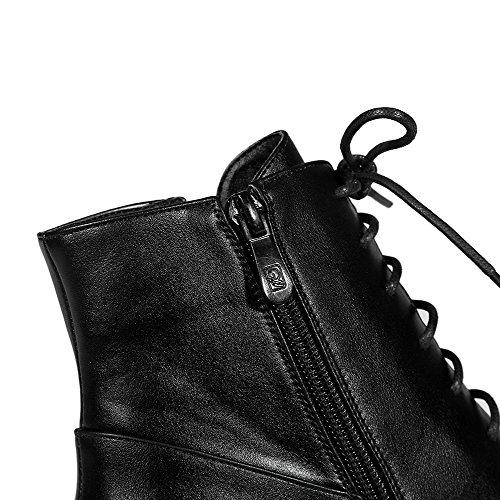 AllhqFashion Damen Mittler Absatz Rein Rund Zehe Weiches Material Reißverschluss Stiefel Schwarz