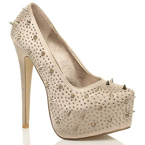 Escarpins de fête à talons hauts et plateforme cachée femmes chaussures taille Satin champagne clouté