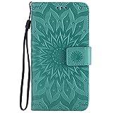 Motorola Moto G4 / G4 Plus Hülle, Chreey [Prägung Indische Sonne] Lederhülle Sonnen Blume Brieftasche Wallet Tasche Magnet Flip Case Handyhülle Etui mit Kartenfach Ständer [Grün]