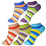 ME Stores Women's Cotton and Spandex Ankle Length Polka Dot Striped Pattern Designs Socks (Free Size) -5 Pair
