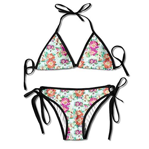 Anemone Flowers Bikini Women's Summer Swimwear Triangle Top Bikinis Swimsuit Sexy 2-Piece Set Anemone Cup