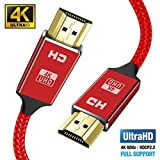 4K HDMI Cable 2M red HDMI Lead-Snowkids Ultra High Speed 18Gbps HDMI 2.0