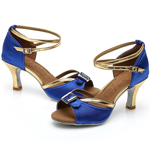 Oasap Women's Fashion Peep Toe Cross Strap High Heels Latin Dance Shoes Blue