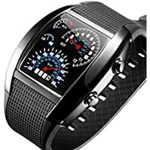 Brovy (TM) 3pcs Digital Retroiluminación LED Militar reloj de pulsera reloj de pulsera deportes medidor Dial relojes para hombres Negro