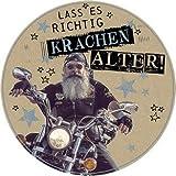Runde Glückwunschkarte Geburtstag ~ Rocker auf Motorrad ~ Laß es richtig krachen, Alter!