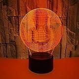 3D Lámpara Óptico Illusions Luz Nocturna Cara Sonriente Forma 7 Colores Cambiar Táctil Y Control Remoto Para La Decoración De La Oficina Del Hogar Lámpara De Noche De Mesa Regalo Único De La