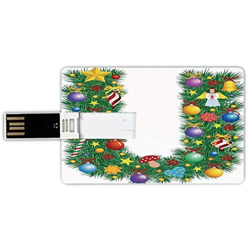 64gb chiavette usb a forma di carta di credito lettera u memory card stile carta di credito figura di angelo dei funghi dei bastoncini di zucchero sull'albero di natale composizione stagionale e lette