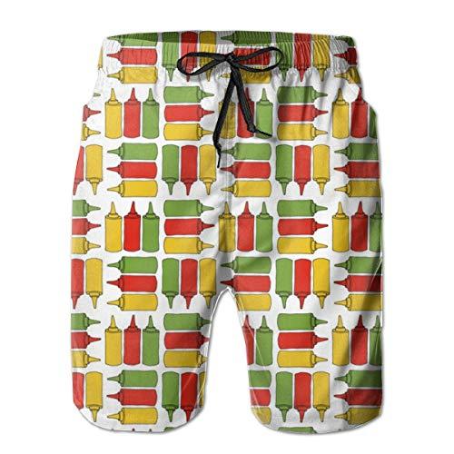 Ye Hua Ketchup, Senf und Relish Bottles_29981 Herren Boardshorts Badehose Surf Beach Holiday Party Badeshorts Strandhose XXL -