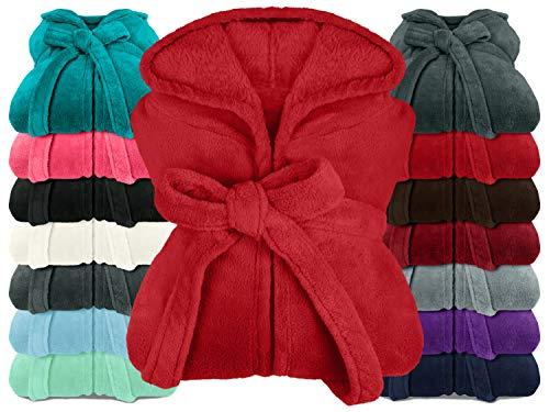npluseins extra weicher Kapuzen-Bademantel aus Kuschelfleece - in modernen Farben und verschiedenen Größen - Unisex & wadenlang, XL, Bordeaux