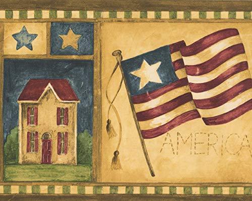 Norwall USA amerikanische Flaggen Birne Baum Kuh Apple patriotischen gelbe Tapete Grenze Retro-Design, Roll-15' x 7'' -
