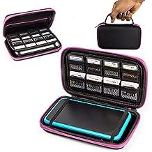 2DSXL Case, Orzly Tasche für das Neu Nintendo 2DS XL - Aufbewahrungstasche / - Hartschalen Case / Cover / Hülle / Schutzhülle für die New Nintendo 2DS XL Konsole & Accesoires - ROSA auf Schwarz