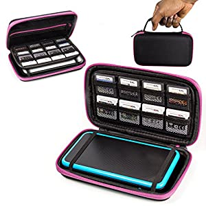 ORZLY® 2DSXL Case, Tasche für das Neu Nintendo 2DS XL – Aufbewahrungstasche / – Hartschalen Case/Cover/Hülle/Schutzhülle für die New Nintendo 2DS XL Konsole & Accesoires – ROSA auf Schwarz