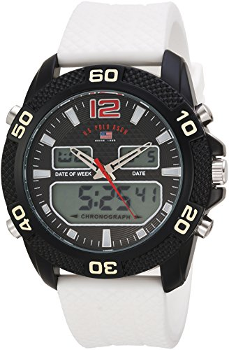 U.S. Polo Assn. Men's Quartz Metal and Rubber Casual Watch, Color:White (Model: us9651)
