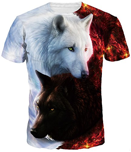 TDOLAH Herren Bunt Galaxy T-Shirt Sport Rundhals Spaß Motiv Tops (2XL/3XL, Engel & Teufel Wölfe) (2xl T-shirt)