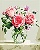 JJH Blume DIY Malen Nach Zahlen Kit Für Erwachsene Pflanzenfarbe Leinwandbild Ölgemälde Malen Nach Zahlen Handgemalte Wohnkultur 40x50 cm Rahmenlose