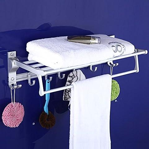 KHSKXEspacio toallero toallero aluminio plegable de metal acolchado accesorios de baño con 7 ganchos de grado alto