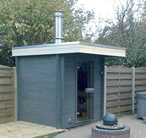 Außen Sauna SAG901p (270 x 210 x 203 cm) mit Flachdach, Vordach (90 cm) Nutpfosten