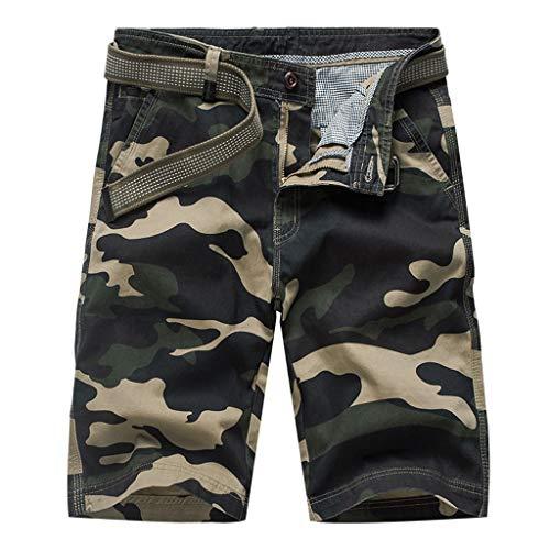 Cargo Shorts,Herren Tarnung Multi-Pocket Arbeitskleidung Kurze Hosen mit Gürtel GreatestPak,Armeegrün,28(XXS)