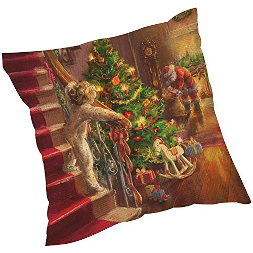 ZARU Impresión de Navidad Sofá cama cubierta de almohadas Cojín decoración del hogar (A)