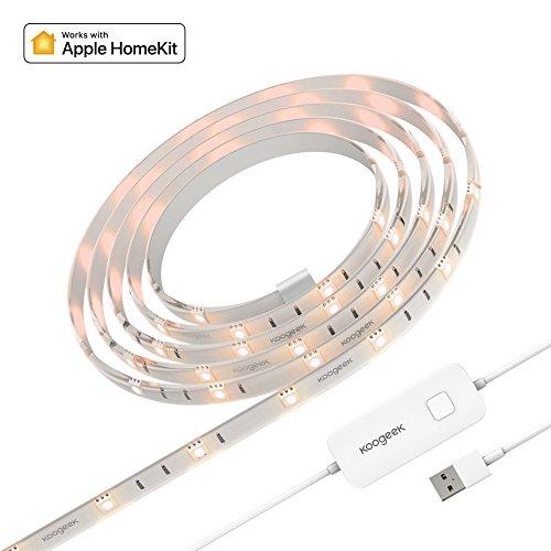 Koogeek Wireless Smart LED Streifen Lichtleiste Funktioniert mit Apple HomeKit 6.6ft / 2m 16 Millionen Dimmbar Fernbedienung Unterstützung Siri Timer USB Angeschaltet 2.4GHz Weihnachten