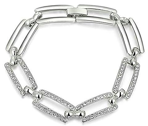 AnazoZ Mode Bijoux Femme Bracelet plaqué or Bracelets pour femme rectangle creux Forme Lien CZ vintage