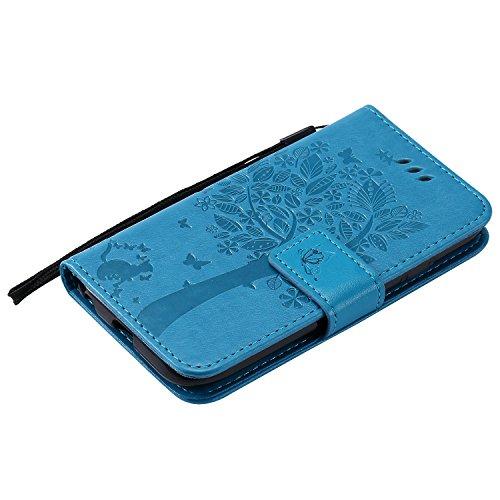 Funda LG K3 2017,TOUCASA® PU Cuero Billetera Ranuras para Tarjetas y Billetera TPU Silicona Case Interna Suave Diseño de Árbol Gato Mariposa Patrón nueva llegada Exquisito relieve Magnético Función Delgado Funda para LG K3 2017-Color Azul