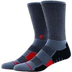 Calcetines de compresión COOLMAX MEIKAN ,deportes profesionales pares de calcetines de deporte [1] repele la humedad de secado rápido transpirable tejido Anti-Blister para ciclismo, footing, Running, conducción,senderismo,Ping Pong, Maratón, triatlón, hombres y mujeres (Gris, 39-42)
