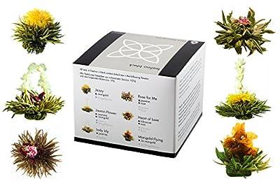 """Boîte de 6 fleures de thé noir """"Feelino black"""" - boîte cadeau avec 6 fleurs du thé différents l'emballage sous vide"""