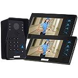KKmoon 7' Video Portero Interfono Intercom (1000TVL Cámara de Vigilancia, 2 Monitor TFT LCD, Botón Táctil, 4 Modos, 5 Tarjetas ID, Visión Nocturna)