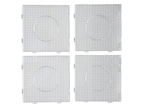 EAST-WEST Trading GmbH 4 Stück, Bügelperlen Stiftplatten, Steckplatten, einzeln und auch als eine Fläche nutzbar, Einzelgröße 14,5 x 14,5 cm