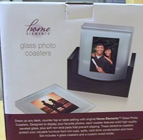 Beveled Glass Photo Frame Costers with Wood Storage Rack by Think Tank Technology