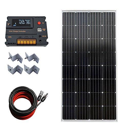 ECO-WORTHY 12V 150W Mono-Solarpanel-System mit 20A LCD-Laderegler, 5 m Kabel mit MC4-Anschluss, Z-Unterstützung für Off-Grid-RV-Motorhome-Boot